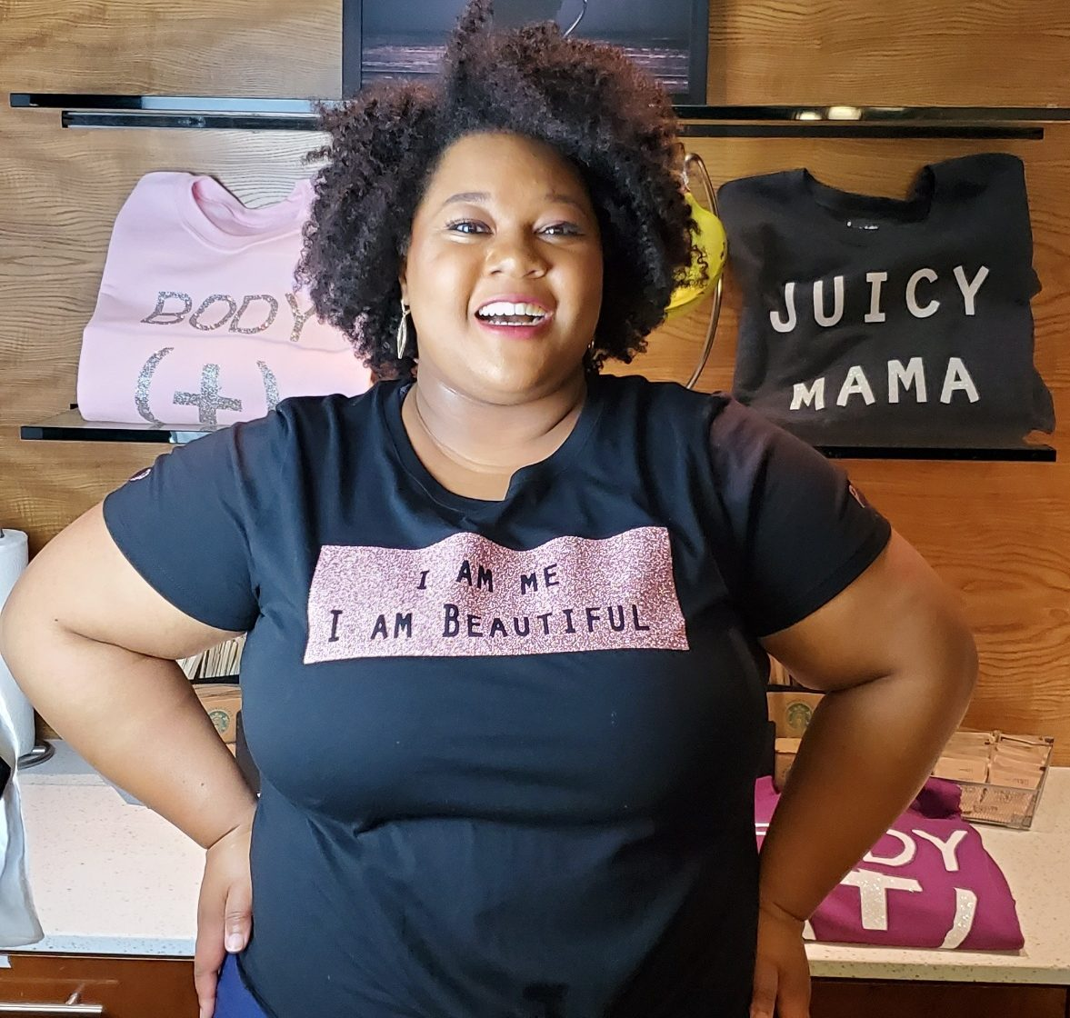 I am me, I am beautiful plus size tee shirt from Plurvy