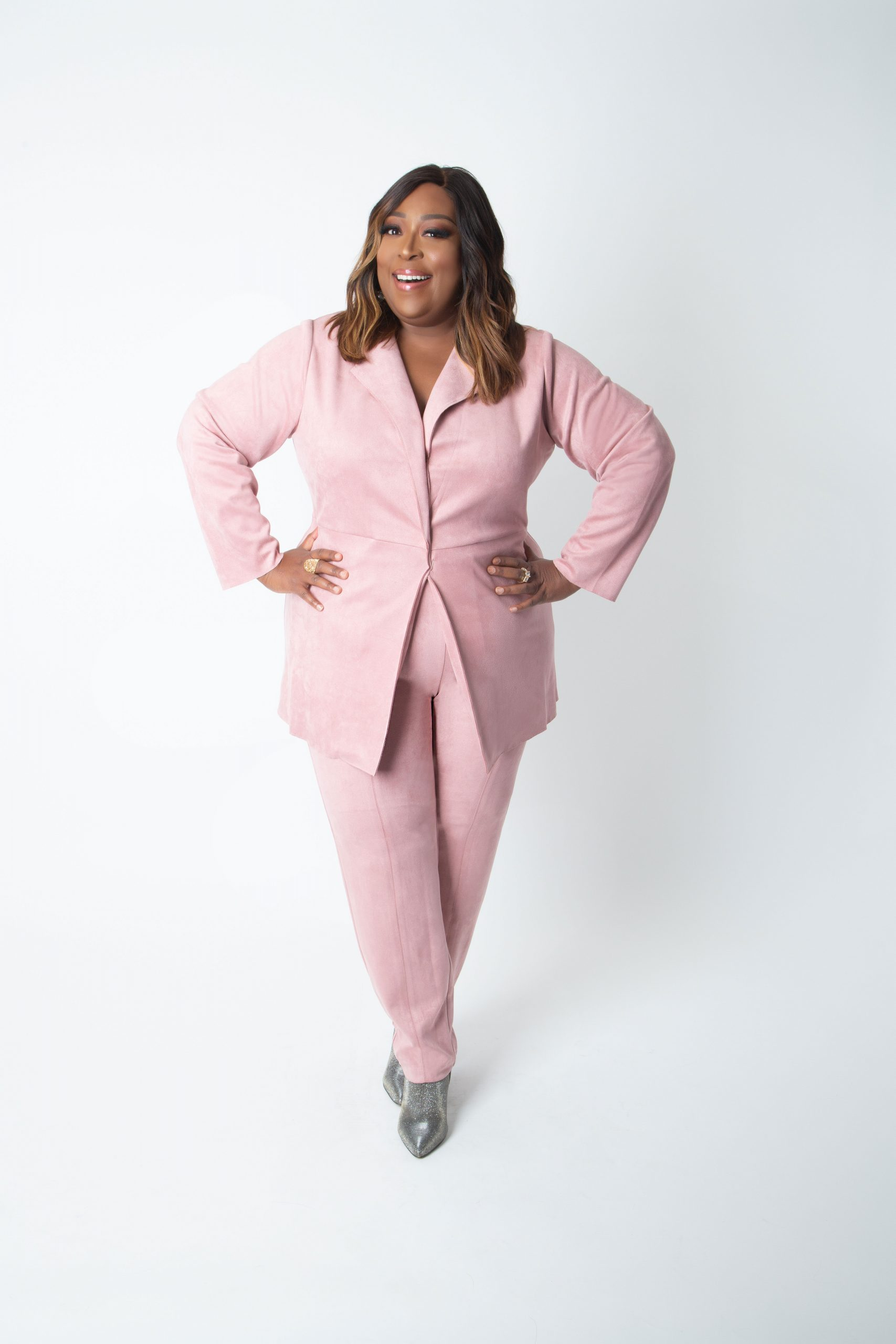 Pink Suede Plus Size Suit - Loni Love