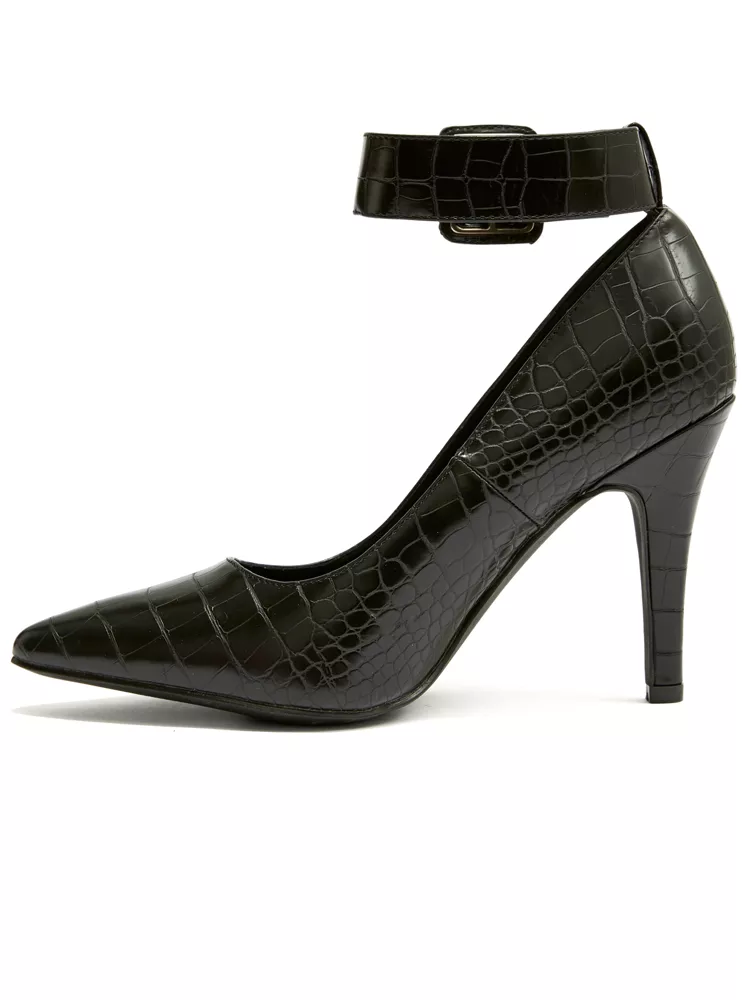 Nadia x FTF Accessories- Buckled Down Faux Croc wide width Heel