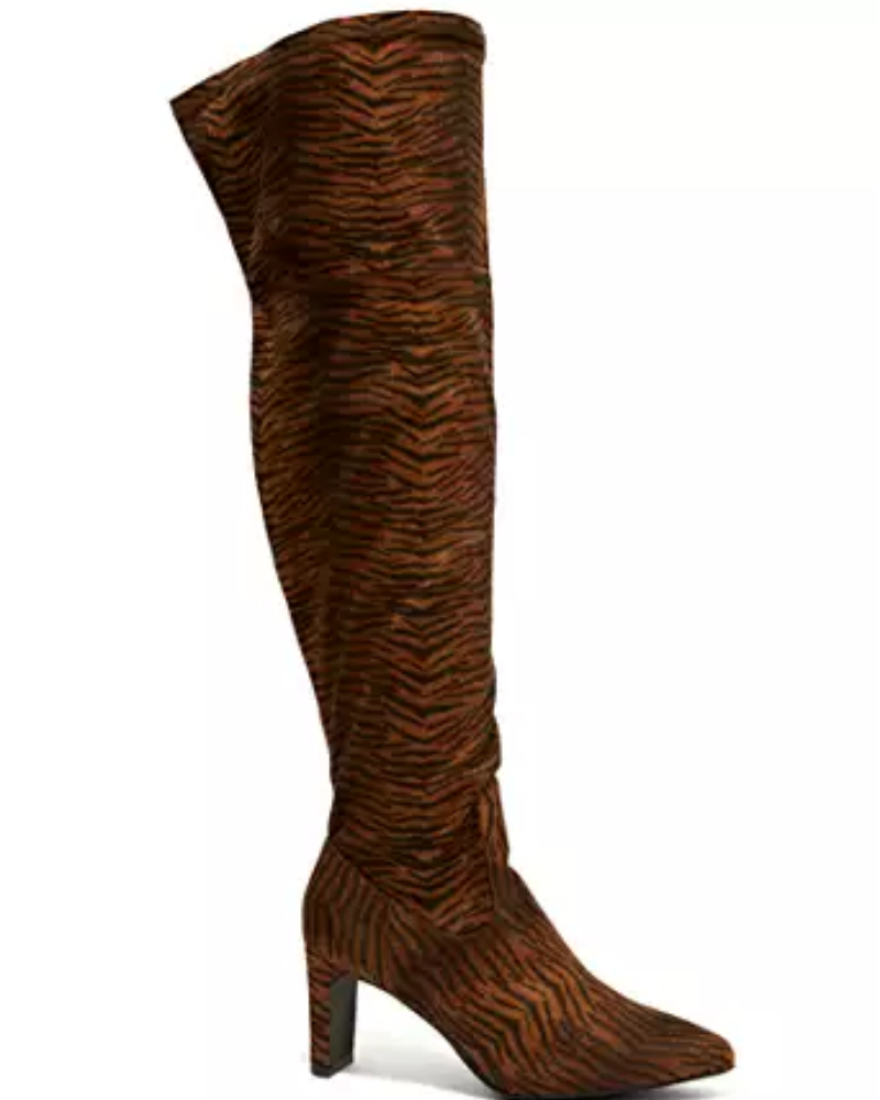 Fashion to Figure Animal Print Over The Knee Boots.