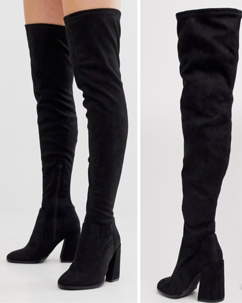 Wide Fit Korey Heeled Thigh High Boots by ASOS DESIGN