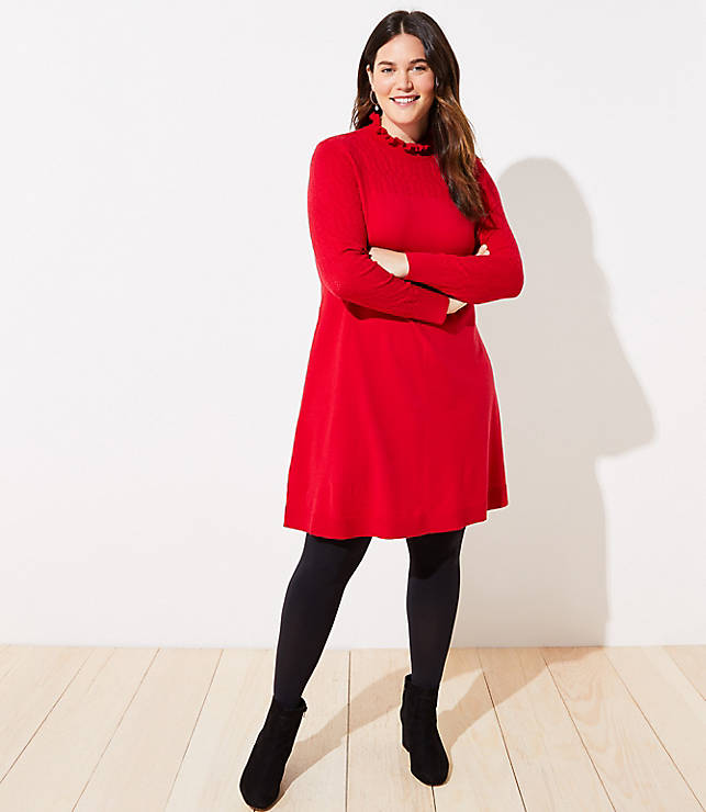 Red Ruffle Sweater Dress