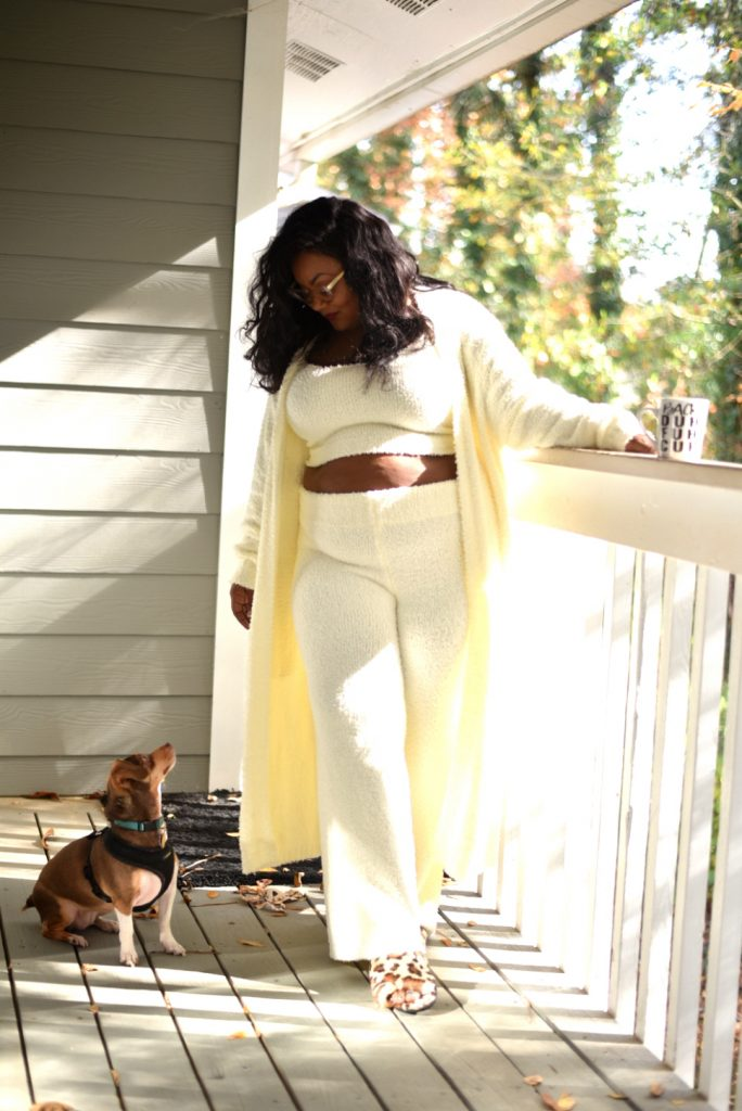 Marie Denee in Skims Cozy Collection Lounge wear in plus Sizes