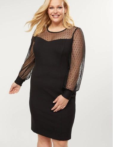 Little Black Dress with Polka Dot Mesh Sleeves