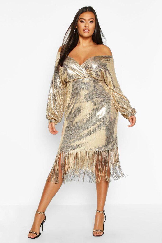 Plus Sequin Off The Shoulder Wrap Midi Dress