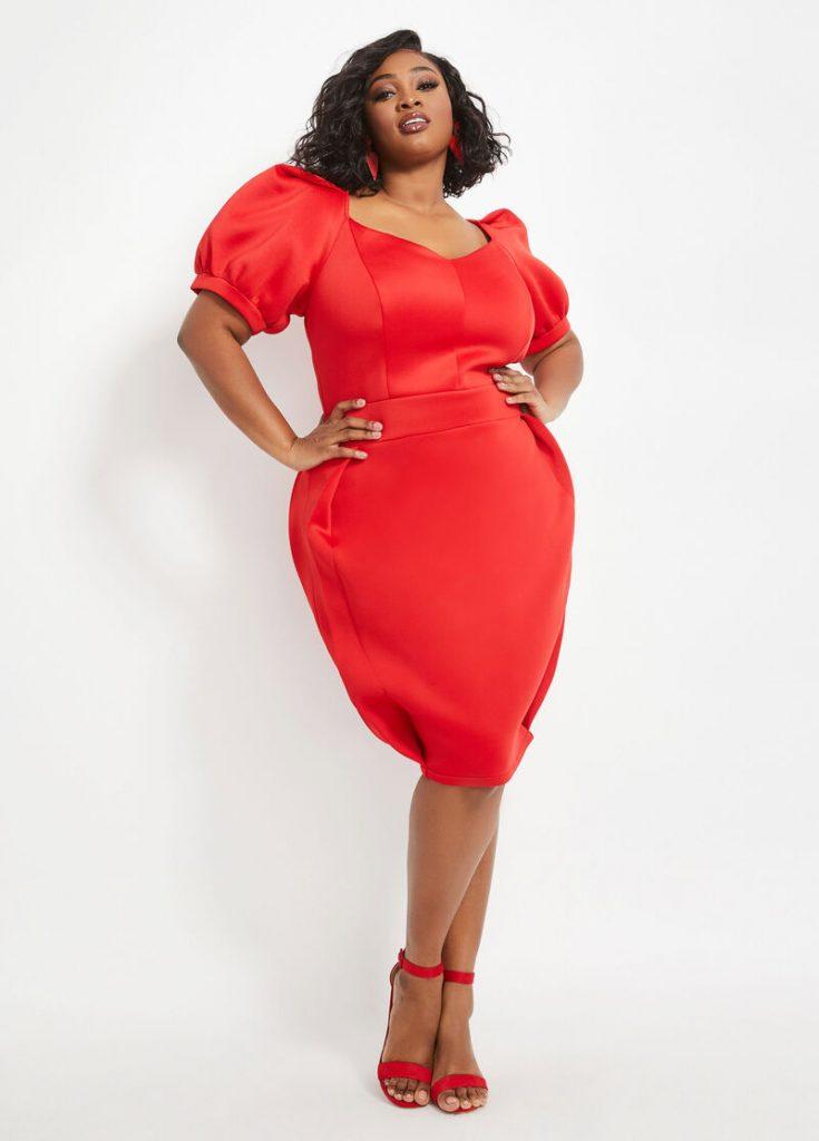 Ashley Stewart RED SCUBA DRESS