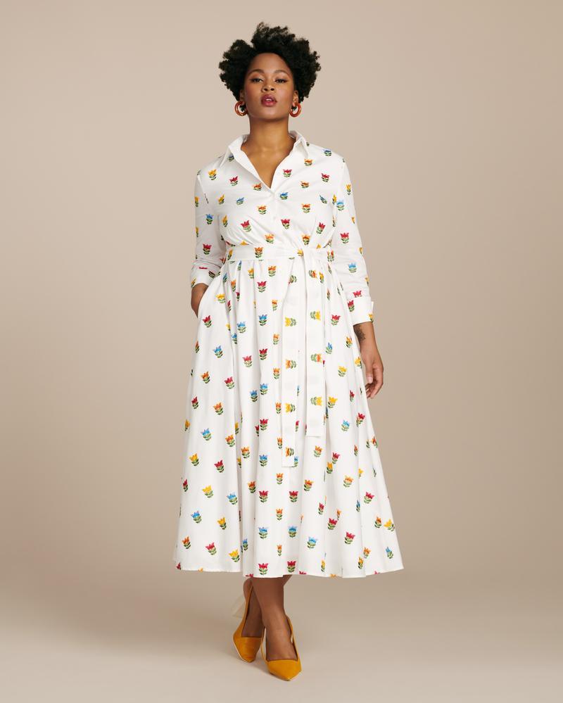 Carolina Herrera Plus Size Shirt Dress with Waist Tie