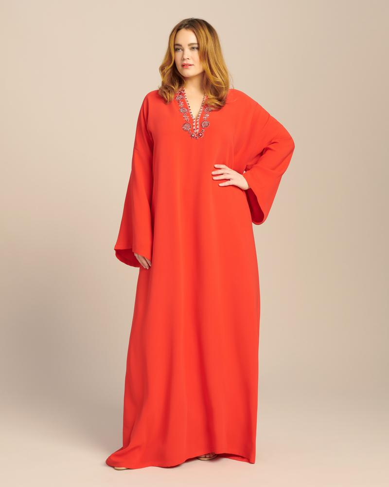 11 Honoré and Carolina Herrera- Drop Sleeve Embellished Keyhole Caftan