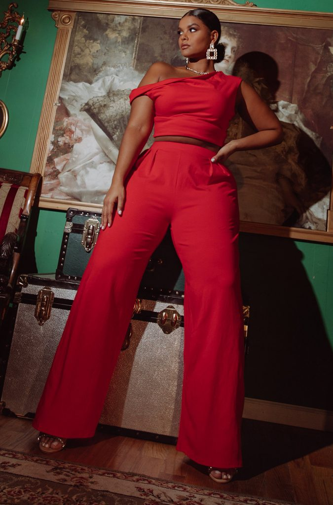 REBDOLLS FIND YOUR LOVE PLEATED WIDE LEG PANTS and Crop Top