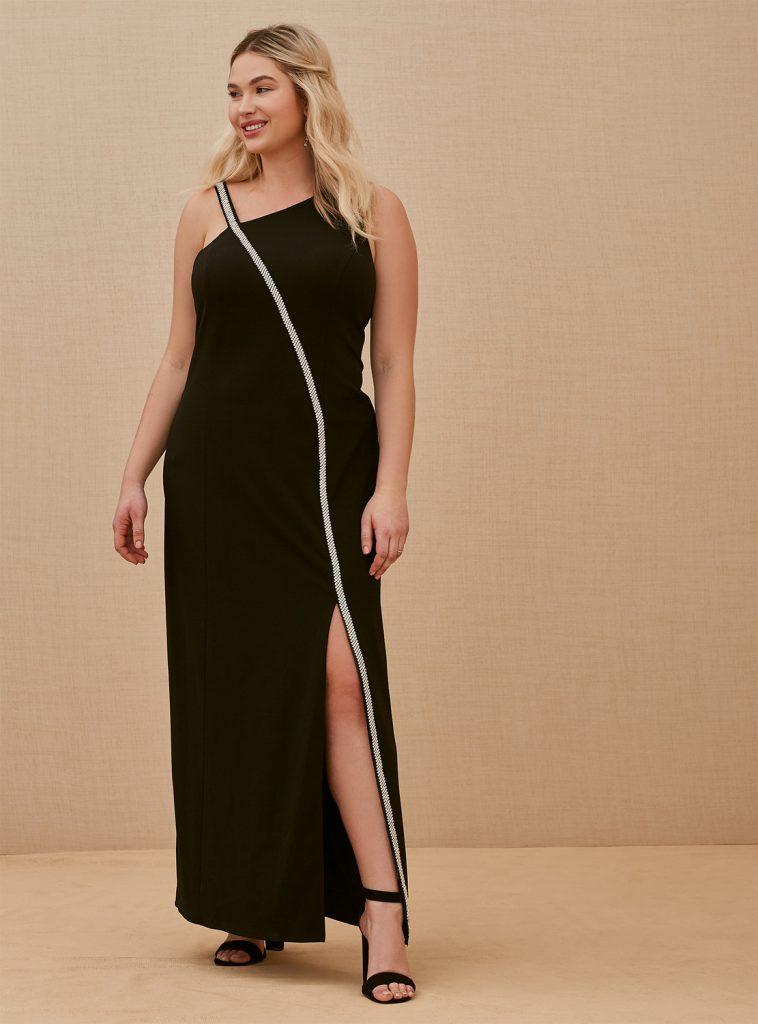 TORRID Crepe Front Slit Rhinestone Gown, $179.50 www.torrid.com