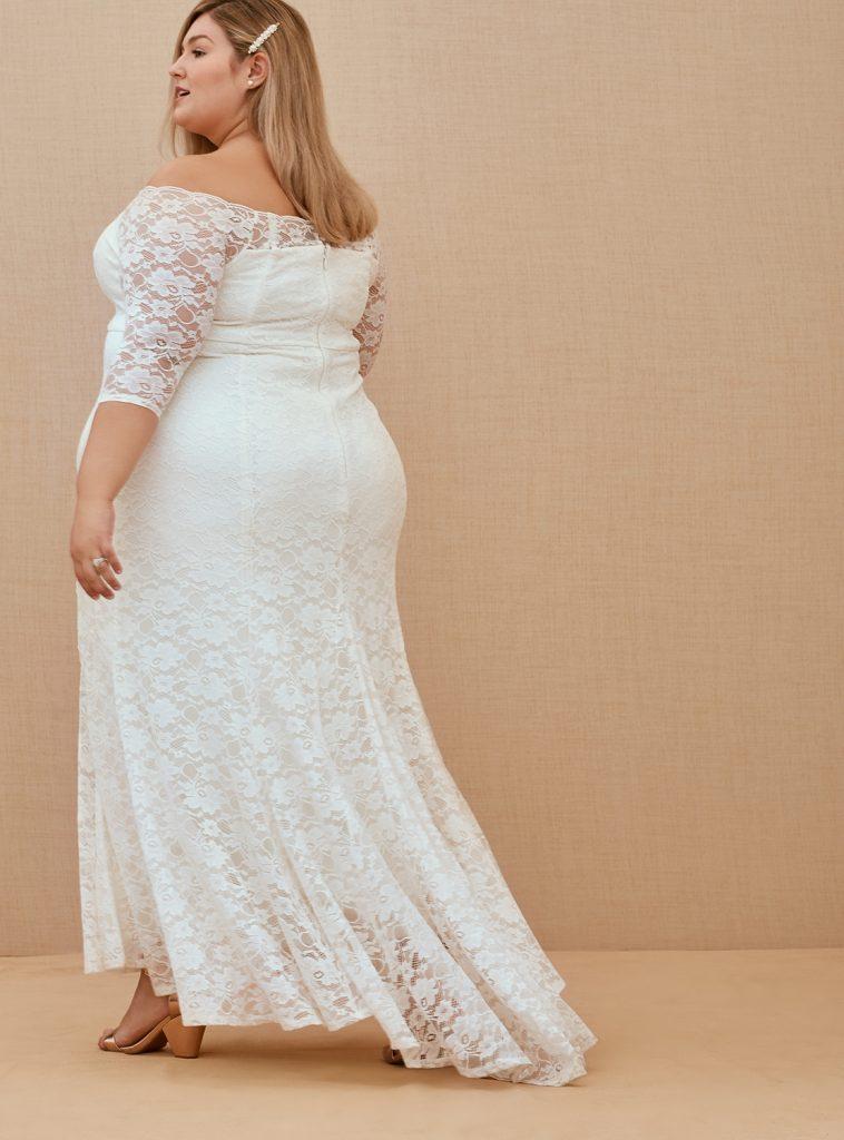 TORRID Lace Off Shoulder Train Wedding Gown, $198 torrid.com
