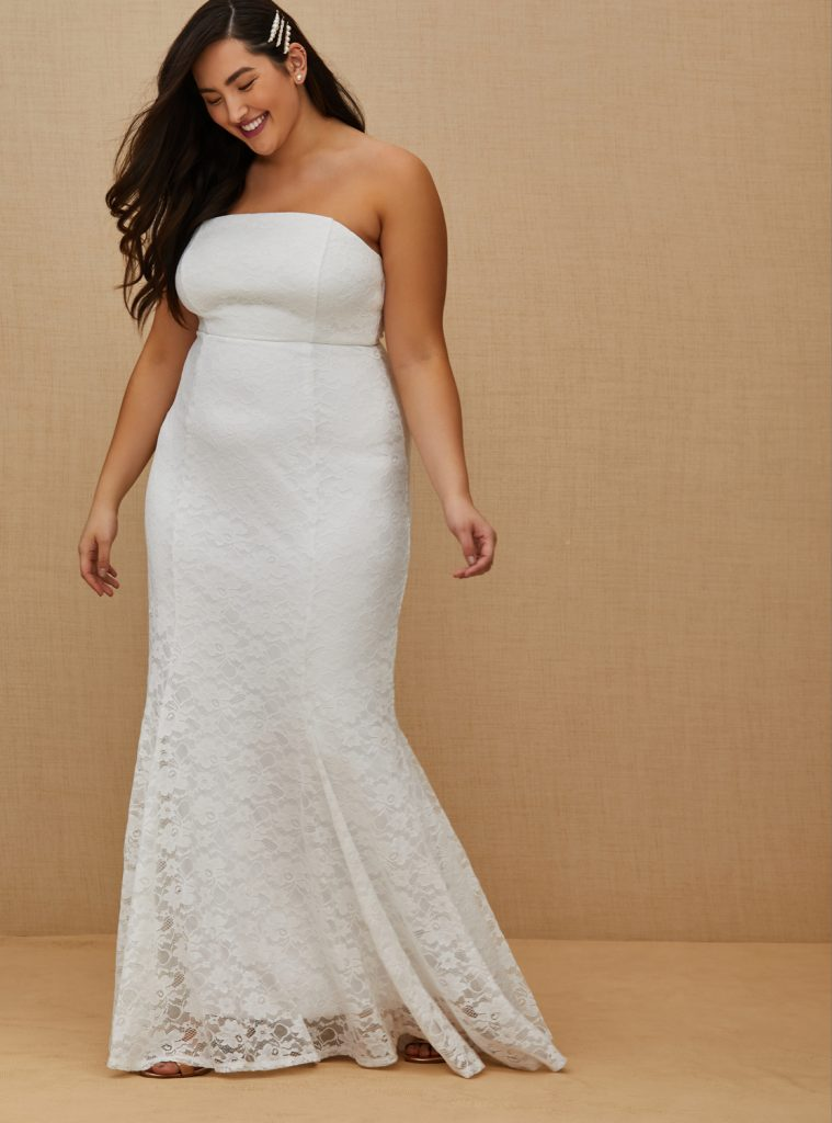 TORRID Strapless Lace Fit & Flare Wedding Gown, $198 torrid.com
