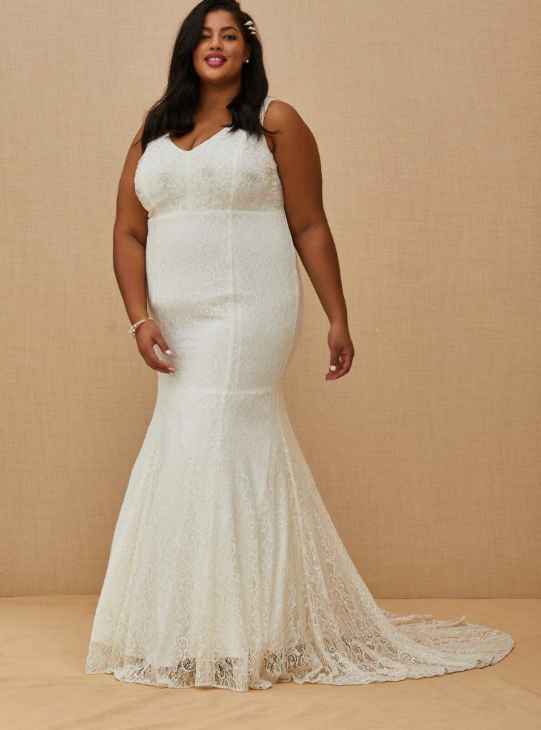 TORRID Beaded Lace Mermaid Wedding Gown, $328 torrid.com