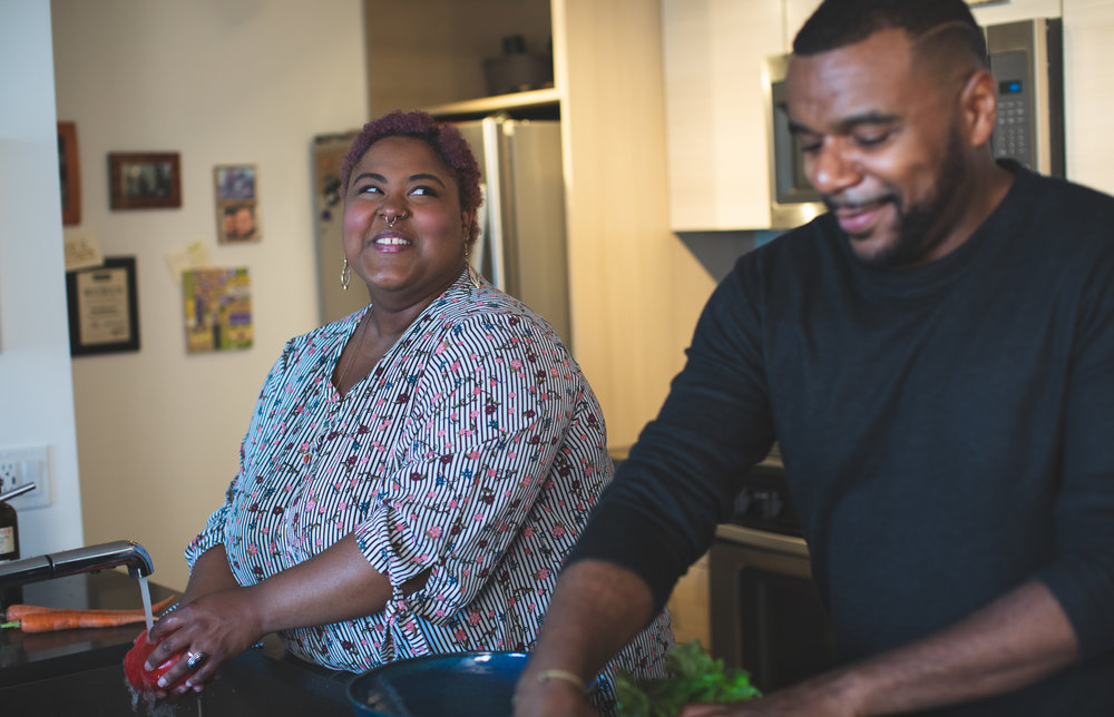 Plus size couple cooking