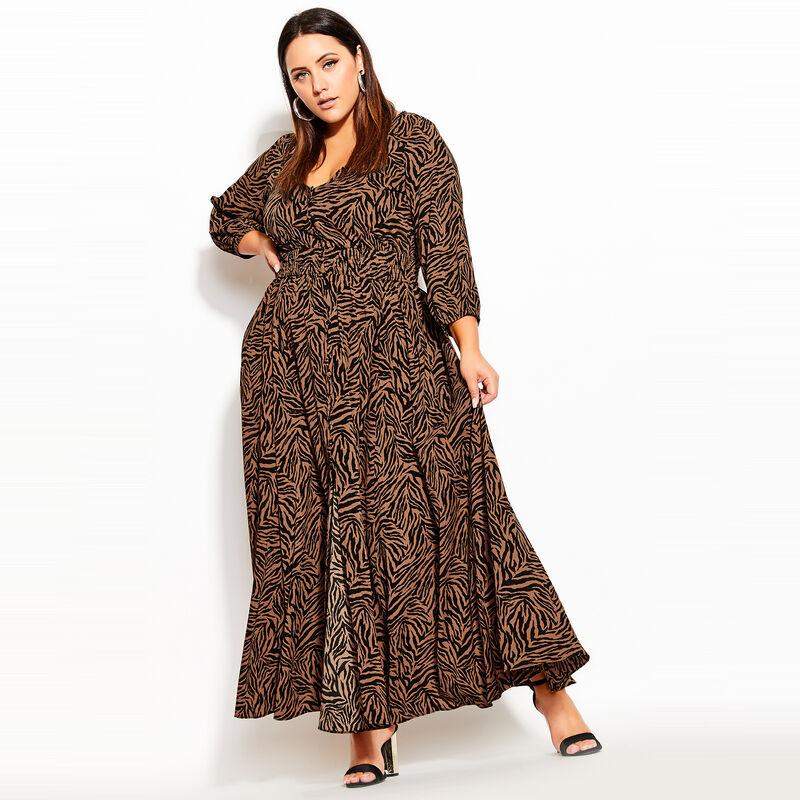 City Chic at Avenue Plus Size MINI TIGER MAXI DRESS