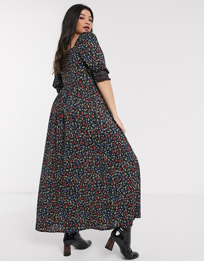 ASOS DESIGN Curve shirred bust maxi dress in black ditsy print