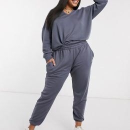 Missguided Plus two-piece oversized notch neck sweatshirt in gray