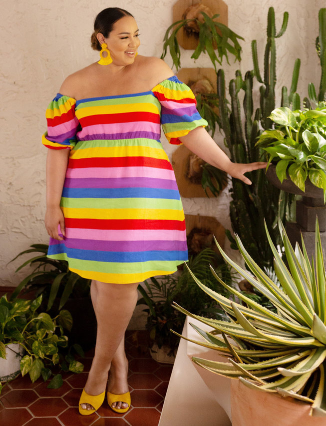 May Plus Size Style Horoscope- Eloquii Puff sleeve a line dress