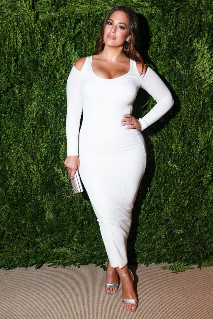 Ashley Graham at the 2017 Vogue Fashion Fund in Victor Glemaud White Sweetie Dress