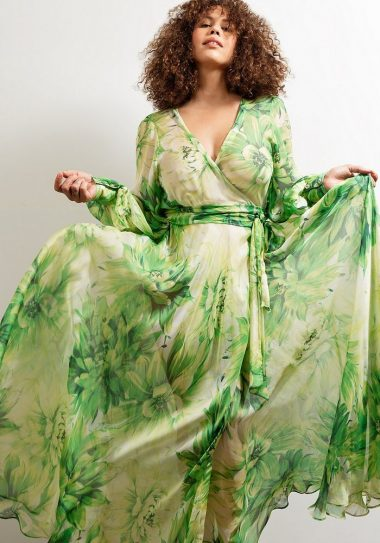 Maxi Wrap Dress No27 Green Superbloom Silk Chiffon