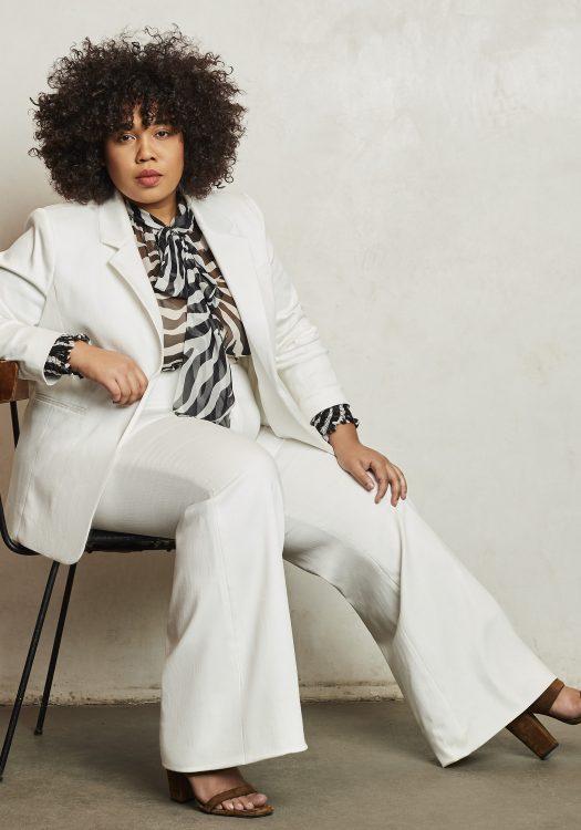 Pair Passu Plus Size Suit- White Cotton Stretch Blazer