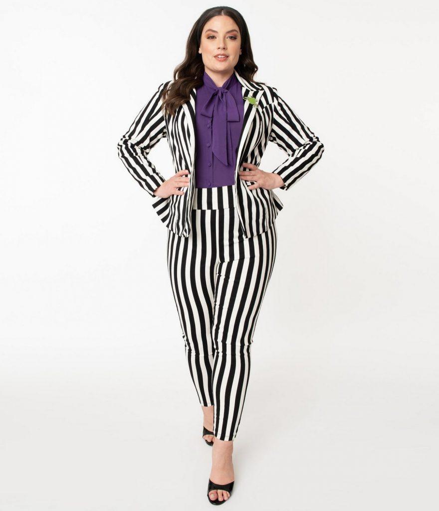 Beetlejuice x Unique Vintage Plus Size Black & White Stripe Rizzo Cigarette Pants