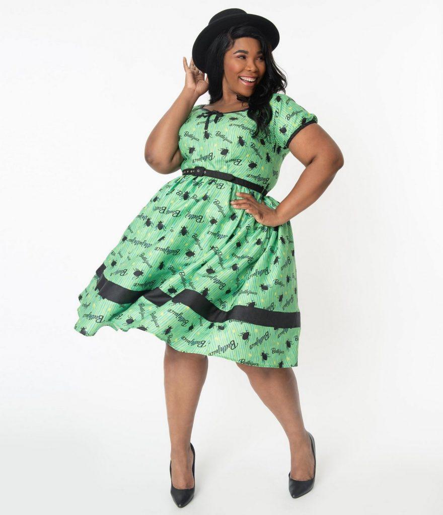 Beetlejuice x Unique Vintage Plus Size Crawling Critters Print Hannah Swing Dress