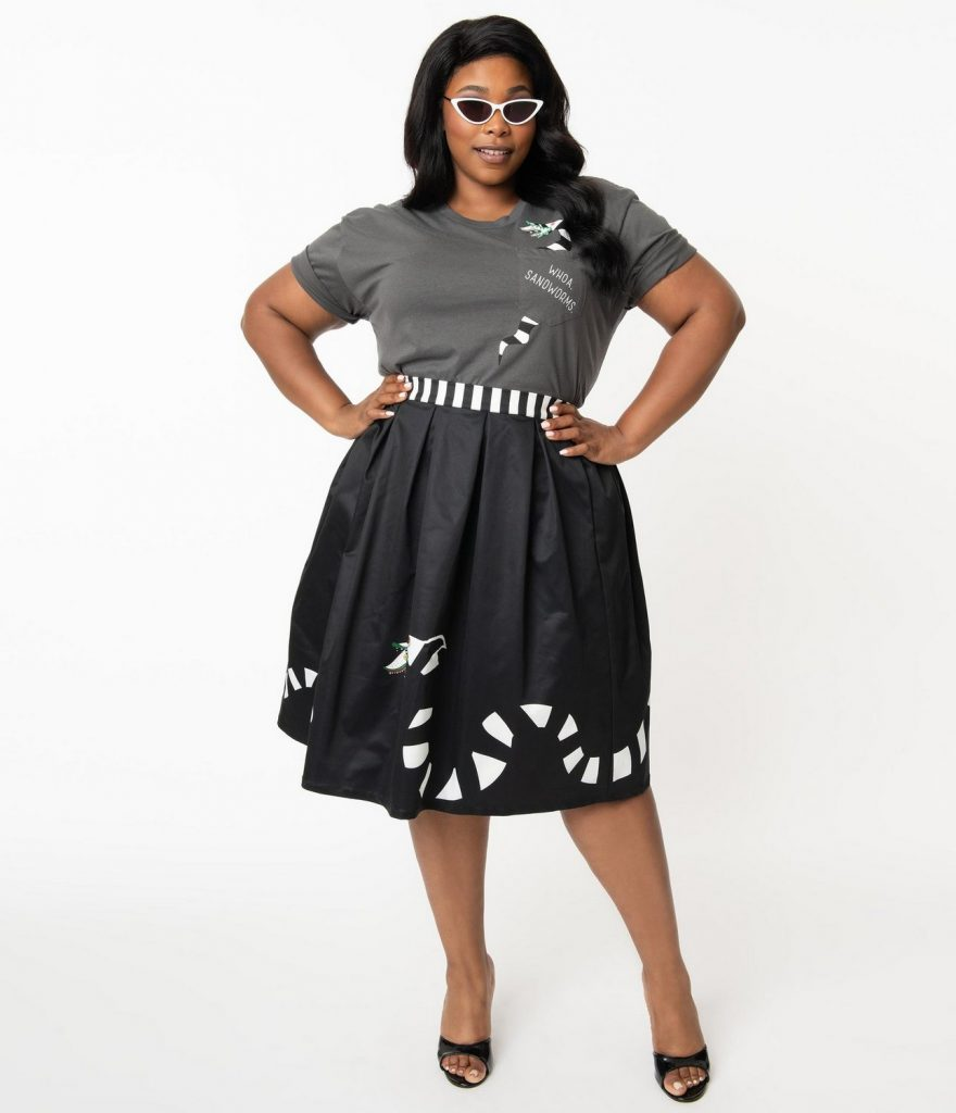 Beetlejuice x Unique Vintage Plus Size Sandworm Jayne Swing Skirt