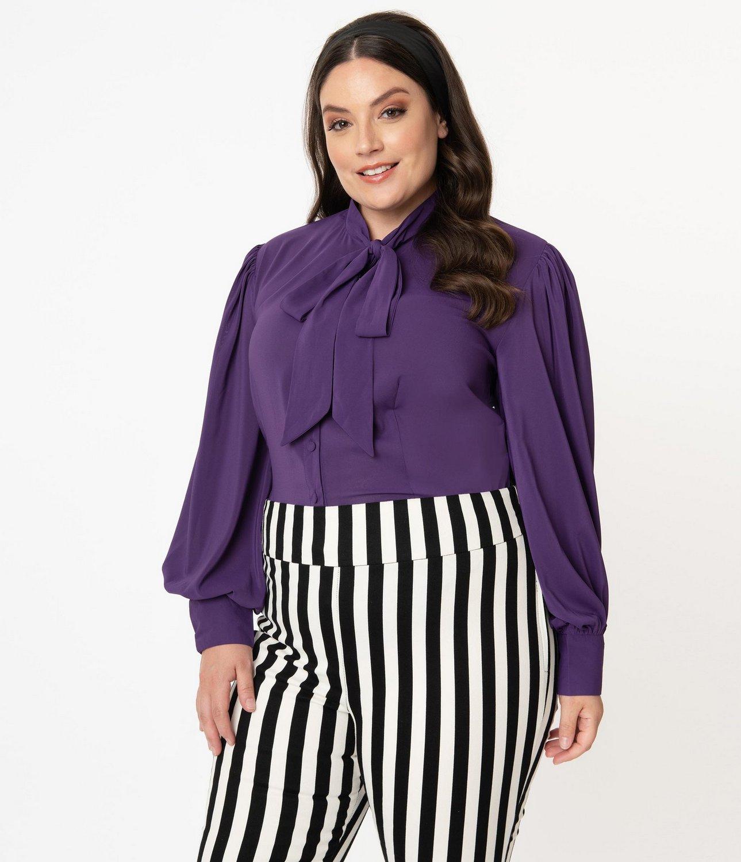 Unique Vintage Plus Size Dark Purple Gwen Blouse