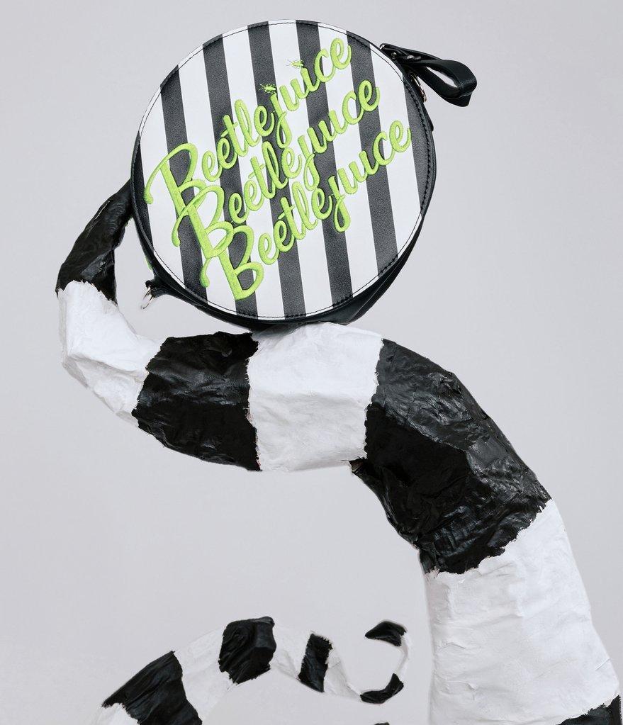 Beetlejuice x Unique Vintage Black & Green Stripe Crossbody