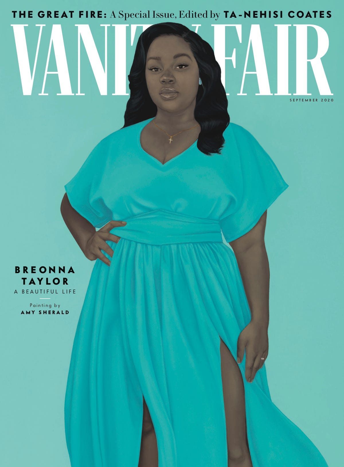 Breonna Taylor Portrait by Amy Sherald on the cover of Vanity Fair, September 2020 Issue in dress by Jibri