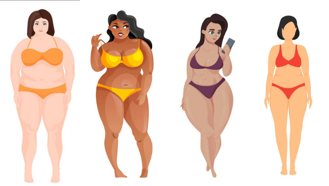 Plus size apple shape, pear, hourglass and column