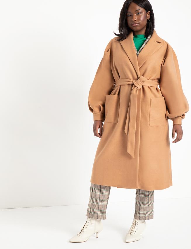 Plus size winter coats- Eloquii Puff Sleeve Robe Coat
