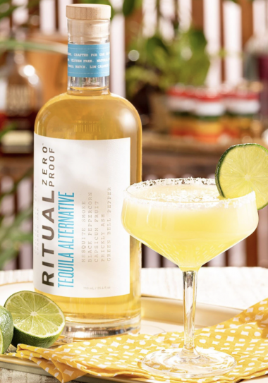 Zero Proof Tequila- with margarita and lime