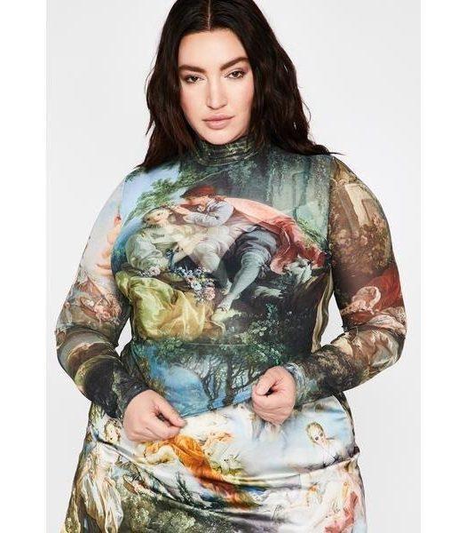 Dolls Kill Sheer dress DIVINE DA VINCI'S DEMONS MESH TOP plus size spring trends