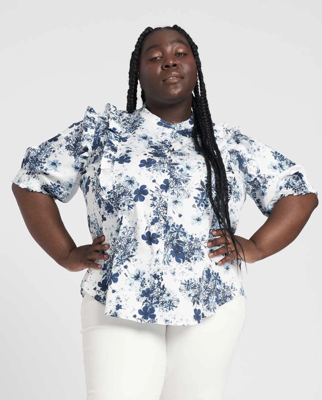 Kalina Short Sleeve ruffle shirt Erdem x Universal Standard