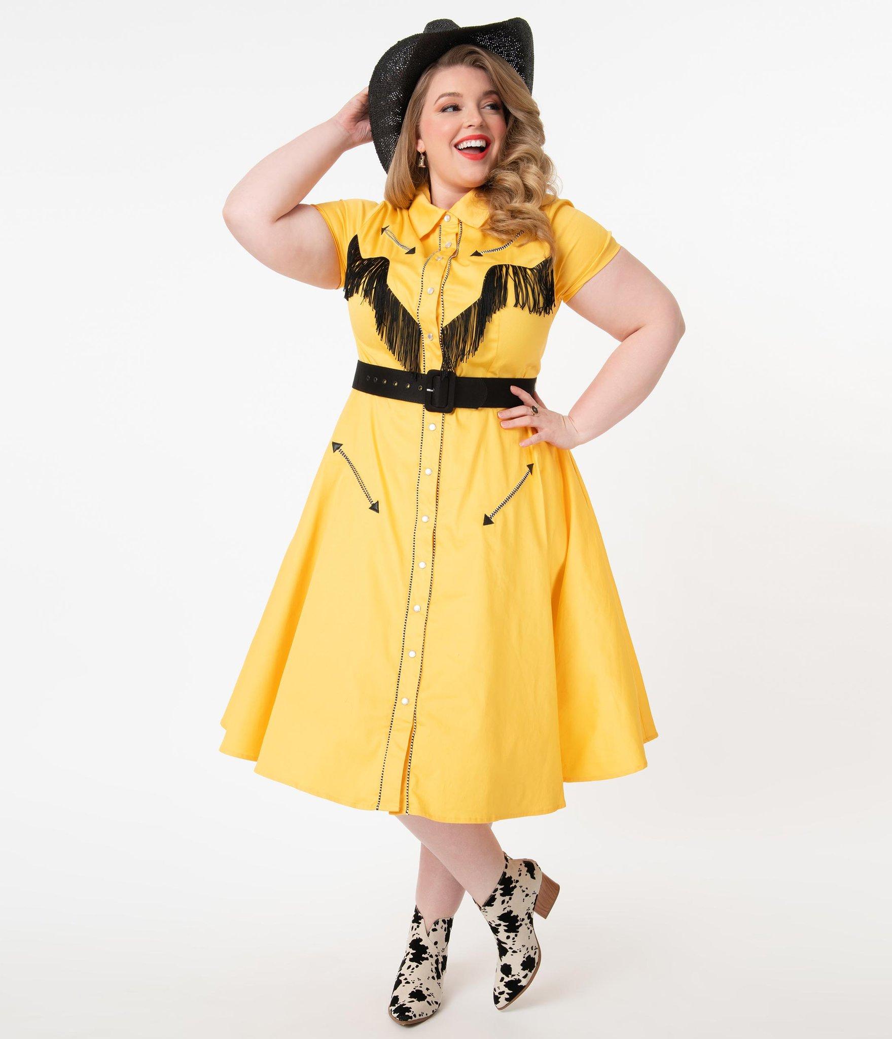 Unique Vintage Plus Size 1950s Mustard Madeline Swing Dress