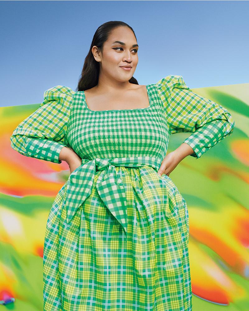 Christopher John Rogers for Target Plaid Long Sleeve Smocked Tie Waist Dress in Green