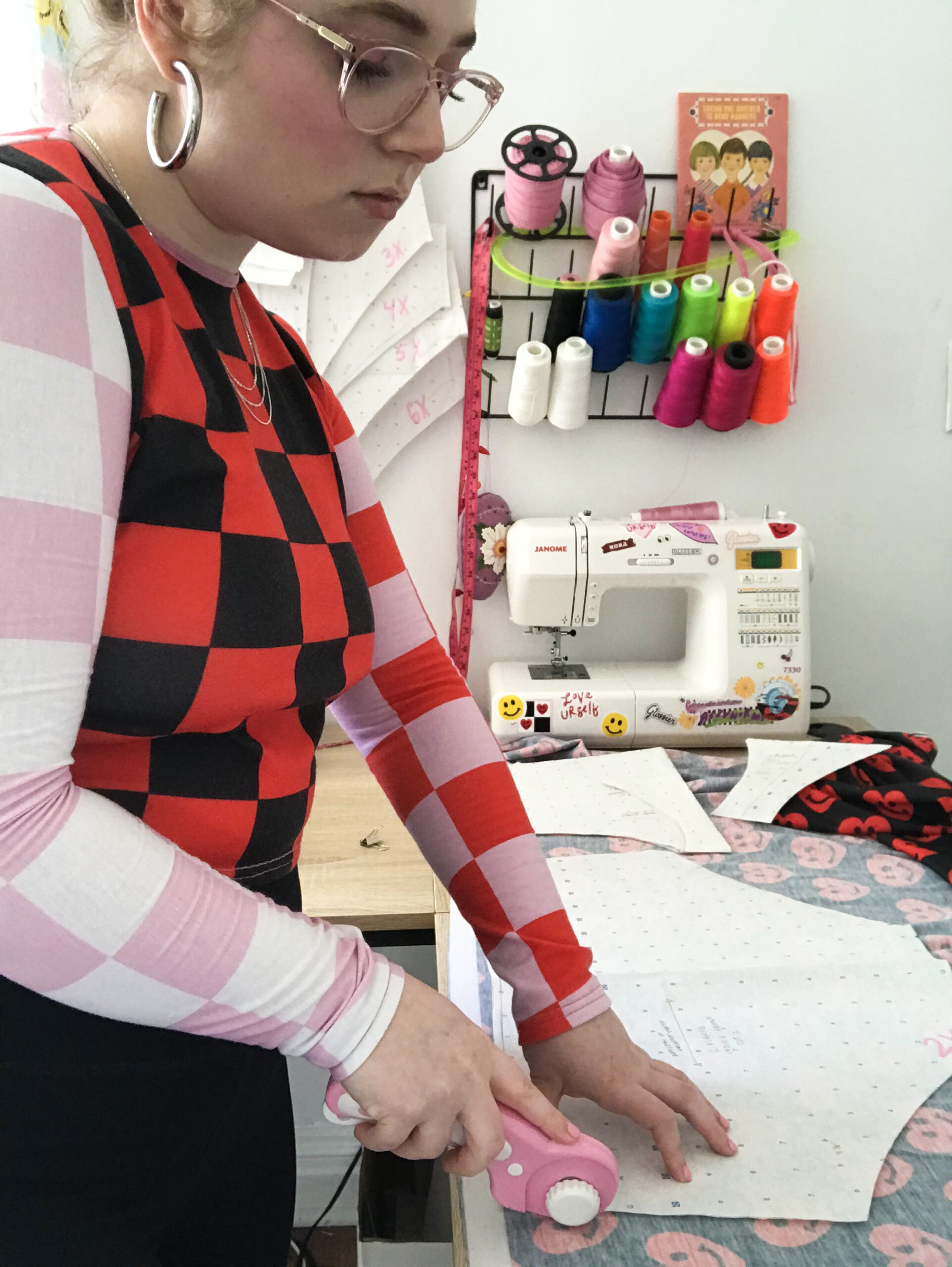 Bouncy Frown Studios founder Abby Mosse working on a pattern