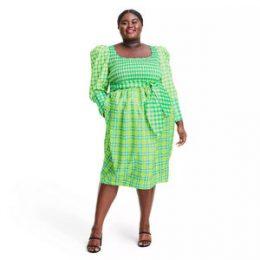Plus Size Plaid Long Sleeve Smocked Tie Waist Dress - Christopher John Rogers for Target