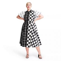 Plus Size Mixed Checkerboard Puff Sleeve Shirtdress - Christopher John Rogers for Target