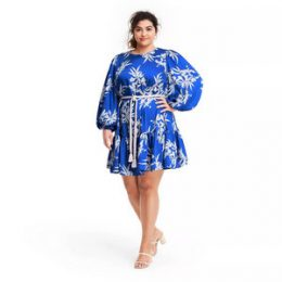 Plus Size Floral Long Sleeve Rope Belt Tiered Dress - ALEXIS for Target