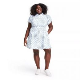 Plus Size Dot Tulip Sleeve Embroidered Shirtdress - ALEXIS for Target