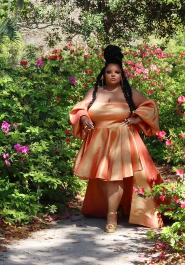 Courtney Noelle Forward collection-Courtney-Noelle-Plus-Size-Dresses-Ivy-Orange-Gown-with-Train-