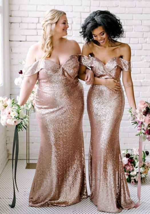 plus size bridesmaid's dresses - gold glitter
