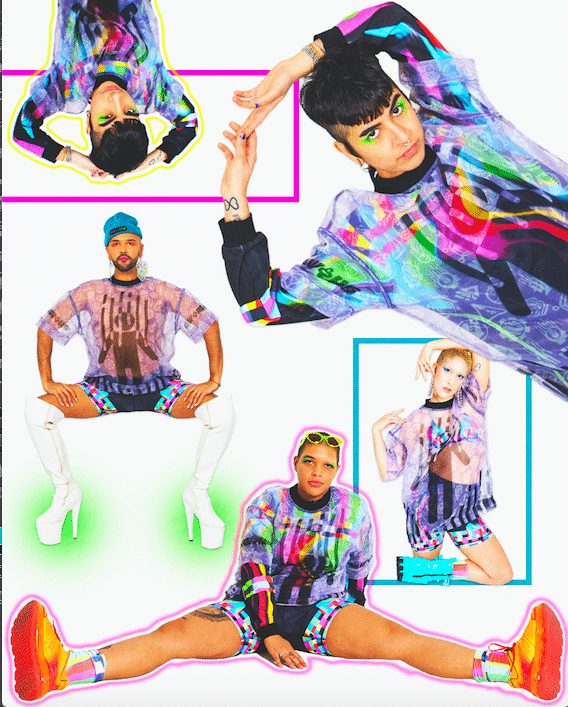 A photo featuring several MW+HS models wearing clothing items from this new line. they are featured in a variety of poses, and there are bright neon edits over them with bold filters and glow effects.