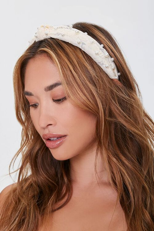 Faux Pearl Lace Headband - hair accessories