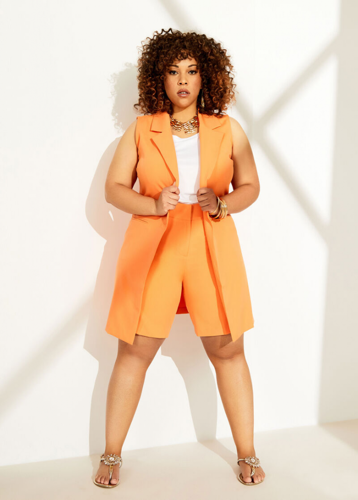Ashley-Stewart-Open-Front-Vest- plus size wear to work and plus size workwear options