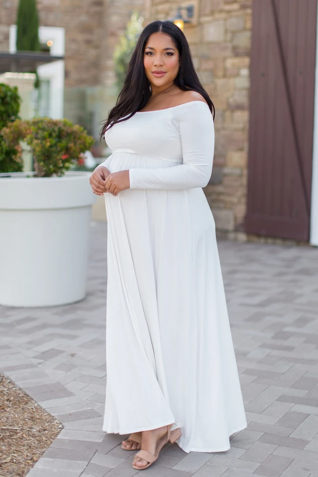 PinkBlush Ivory Solid Off Shoulder Plus Size Maternity Maxi Dress