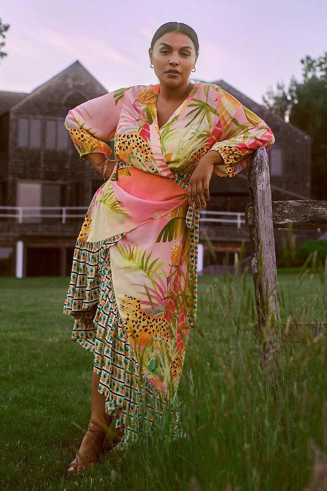 Plus size tropical prints- Farm Rio Tropical Wrap Maxi Dress By in Pink